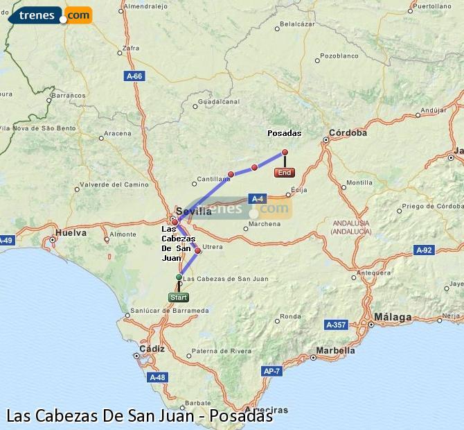 Enlarge map Trains Las Cabezas De San Juan to Posadas