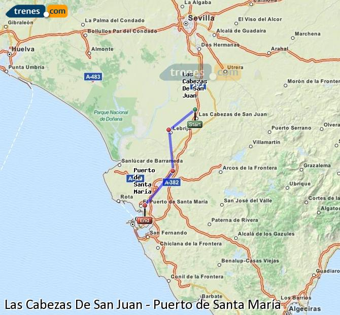 Karte vergrößern Züge Las Cabezas De San Juan Puerto de Santa María
