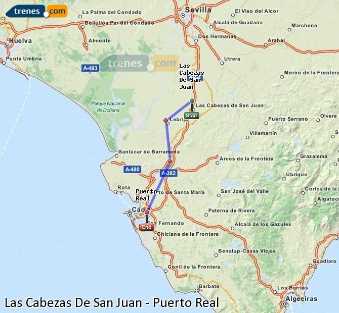 Agrandir la carte Trains Las Cabezas De San Juan Puerto Real