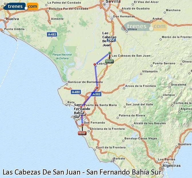 Ampliar mapa Comboios Las Cabezas De San Juan San Fernando Bahía Sur