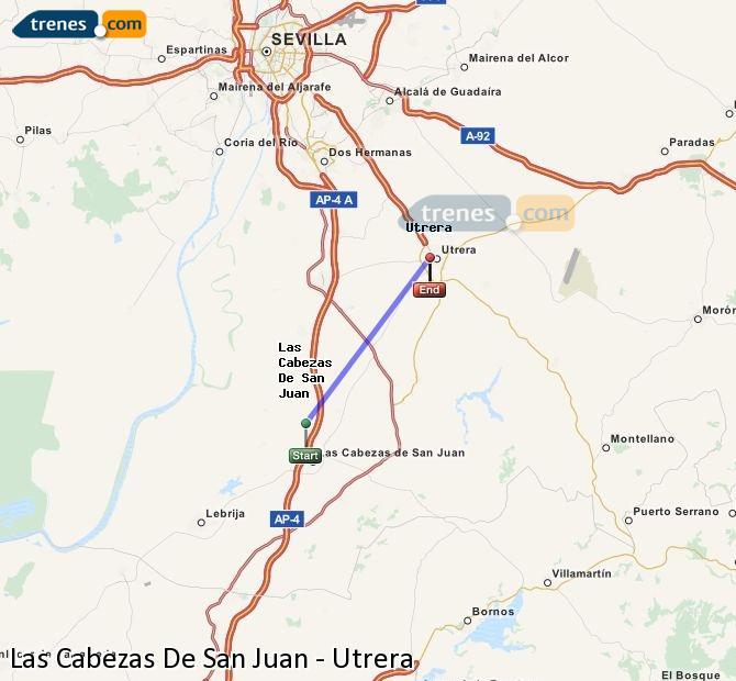 Karte vergrößern Züge Las Cabezas De San Juan Utrera