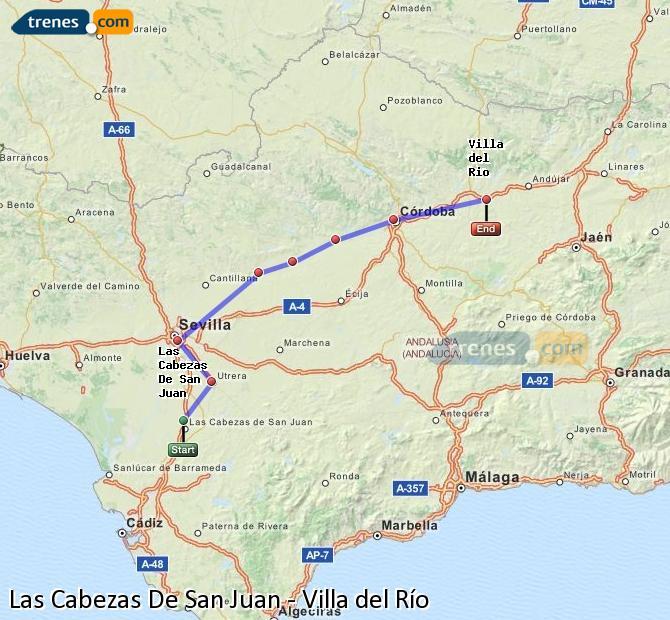 Agrandir la carte Trains Las Cabezas De San Juan Villa del Río
