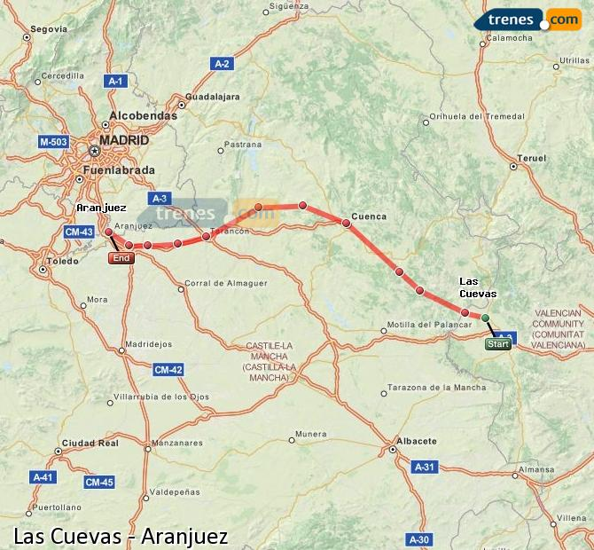 Enlarge map Trains Las Cuevas to Aranjuez