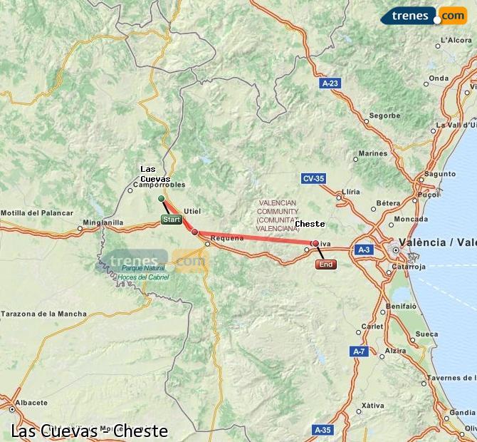 Ampliar mapa Comboios Las Cuevas Cheste