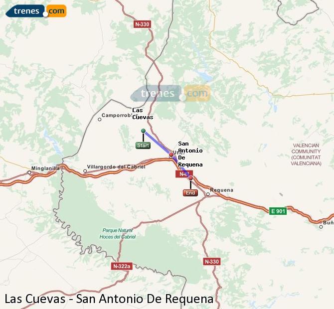Ampliar mapa Trenes Las Cuevas San Antonio De Requena