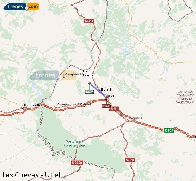 Enlarge map Trains Las Cuevas to Utiel