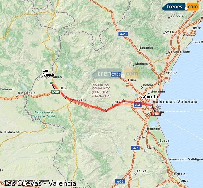Agrandir la carte Trains Las Cuevas Valence