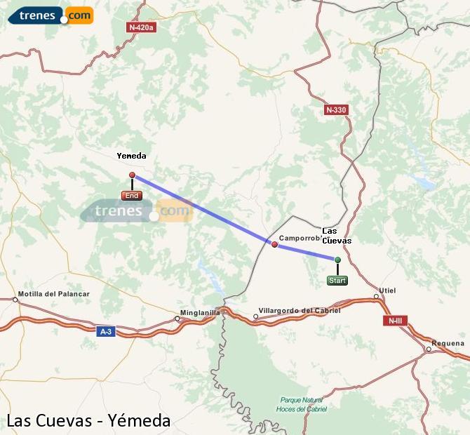 Ingrandisci la mappa Treni Las Cuevas Yémeda