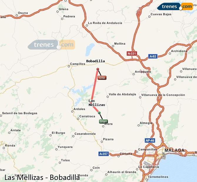 Enlarge map Trains Las Mellizas to Bobadilla