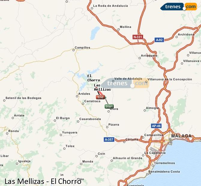 Enlarge map Trains Las Mellizas to El Chorro