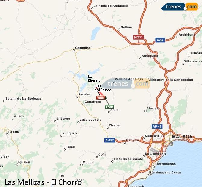 Ingrandisci la mappa Treni Las Mellizas El Chorro
