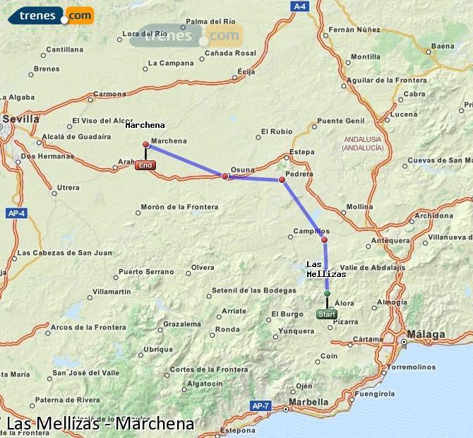 Agrandir la carte Trains Las Mellizas Marchena