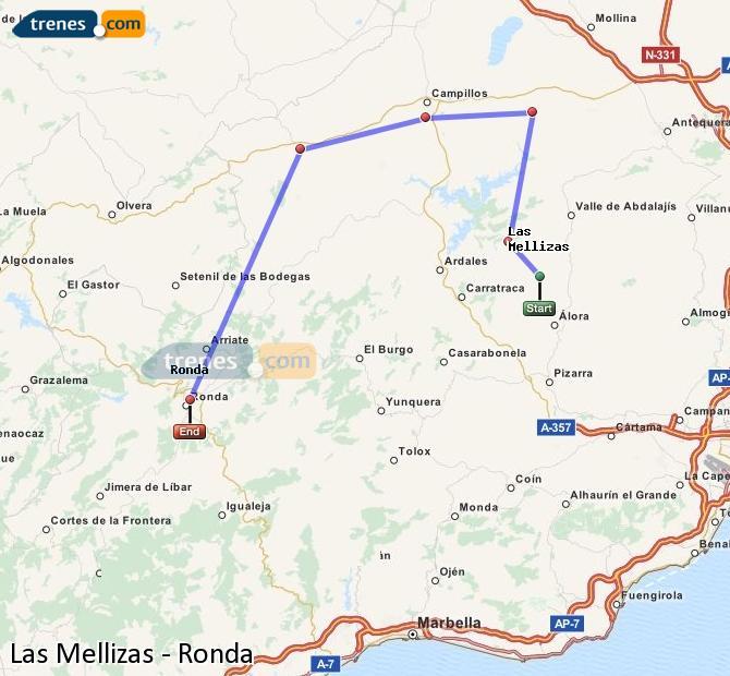 Enlarge map Trains Las Mellizas to Ronda