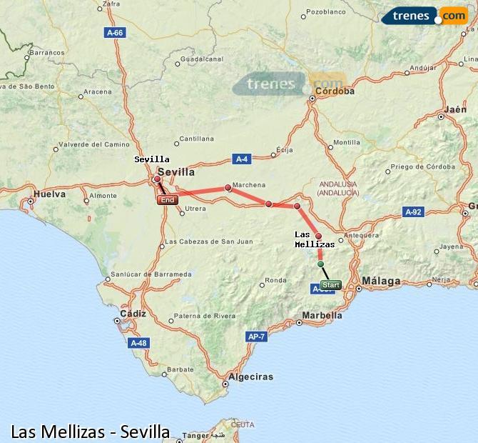 Enlarge map Trains Las Mellizas to Seville