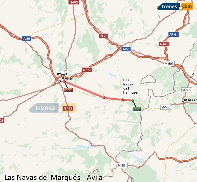 Enlarge map Trains Las Navas del Marqués to Avila