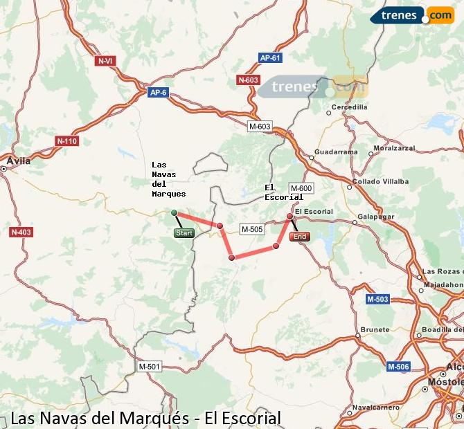 Enlarge map Trains Las Navas del Marqués to El Escorial
