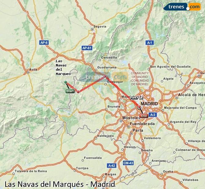 Ingrandisci la mappa Treni Las Navas del Marqués Madrid