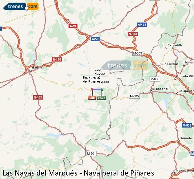 Enlarge map Trains Las Navas del Marqués to Navalperal de Pinares