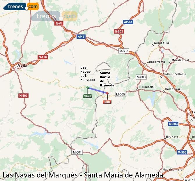 Enlarge map Trains Las Navas del Marqués to Santa Maria de Alameda