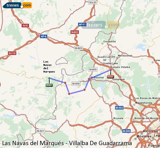 Enlarge map Trains Las Navas del Marqués to Villalba De Guadarrama