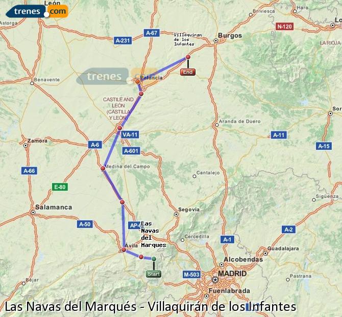 Karte vergrößern Züge Las Navas del Marqués Villaquirán de los Infantes
