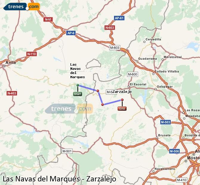 Enlarge map Trains Las Navas del Marqués to Zarzalejo