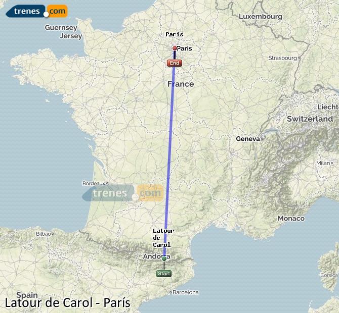 Ampliar mapa Comboios Latour De Carol Paris
