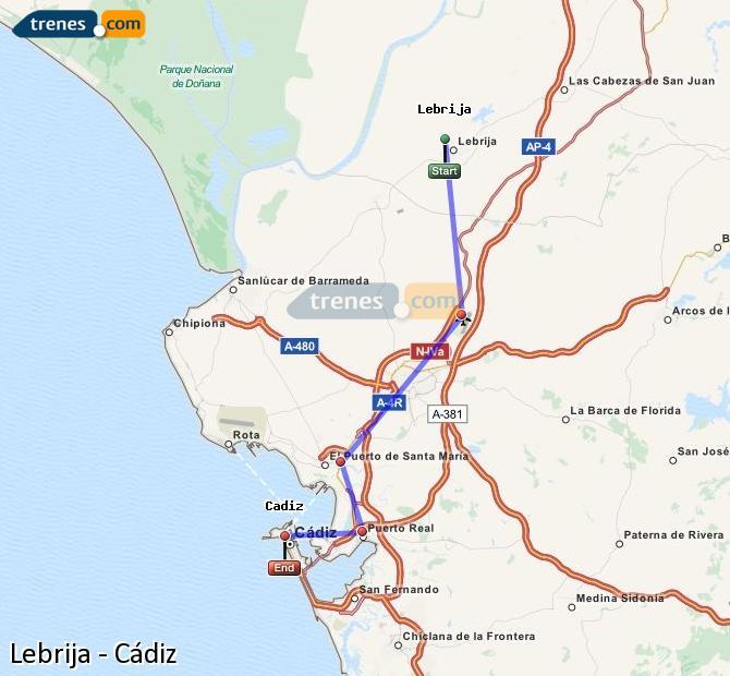 Enlarge map Trains Lebrija to Cadiz