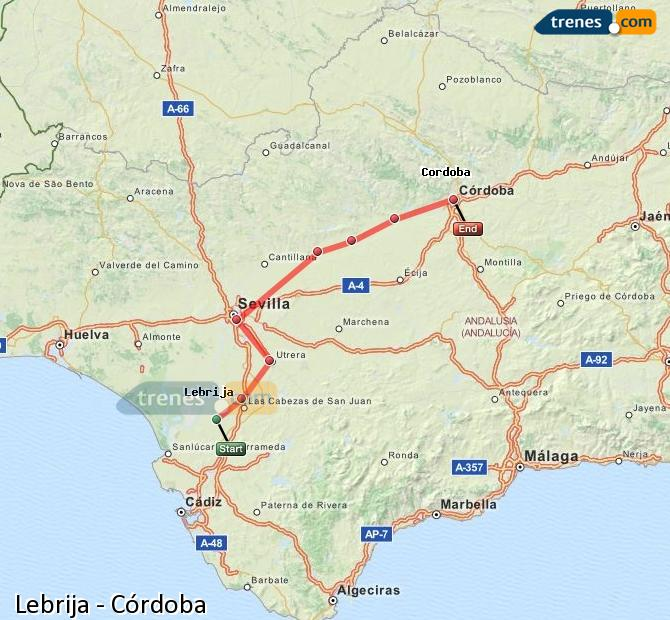 Enlarge map Trains Lebrija to Córdoba