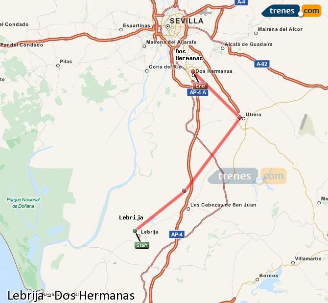 Karte vergrößern Züge Lebrija Dos Hermanas
