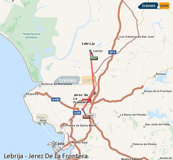 Agrandir la carte Trains Lebrija Jerez De La Frontera