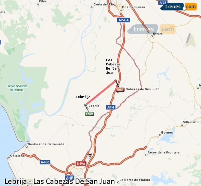 Karte vergrößern Züge Lebrija Las Cabezas De San Juan