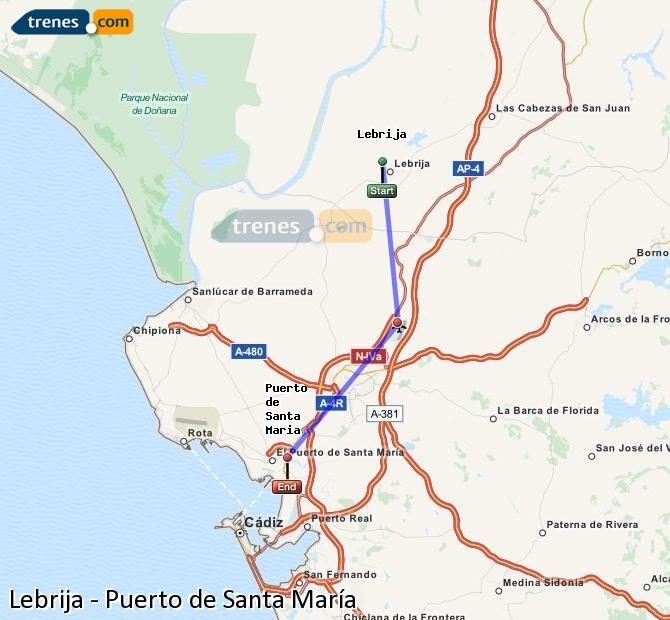 Karte vergrößern Züge Lebrija Puerto de Santa María