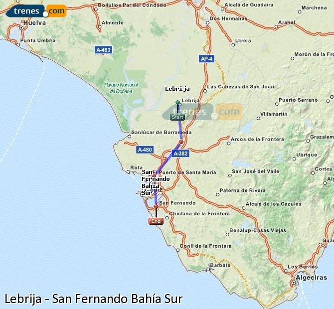 Enlarge map Trains Lebrija to San Fernando South Bay