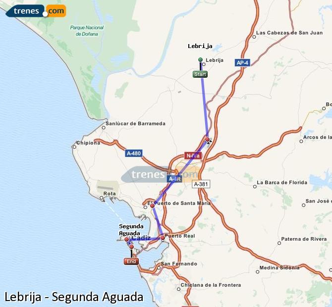 Enlarge map Trains Lebrija to Segunda Aguada