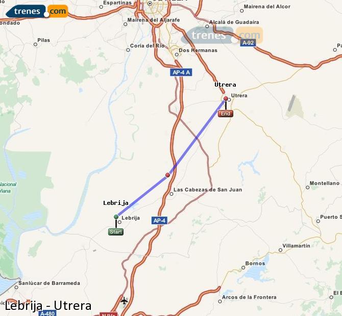 Karte vergrößern Züge Lebrija Utrera