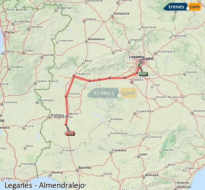 Agrandir la carte Trains Leganés Almendralejo