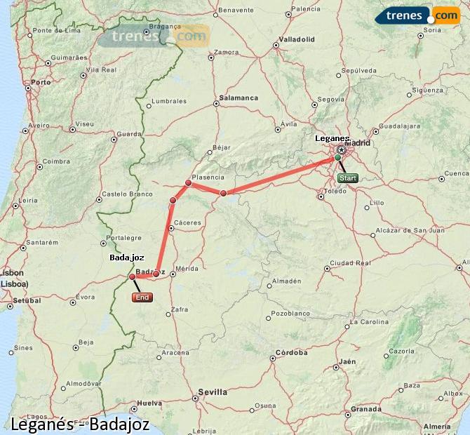 Agrandir la carte Trains Leganés Badajoz