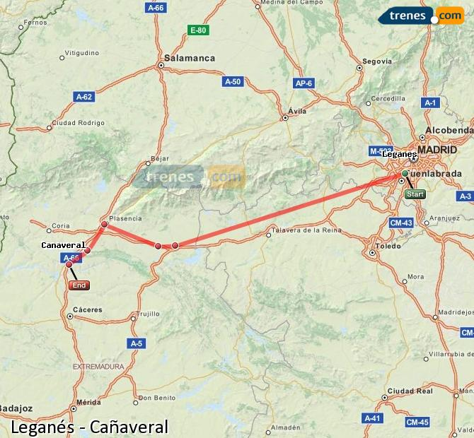 Karte vergrößern Züge Leganés Cañaveral