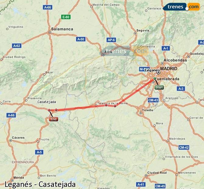 Agrandir la carte Trains Leganés Casatejada