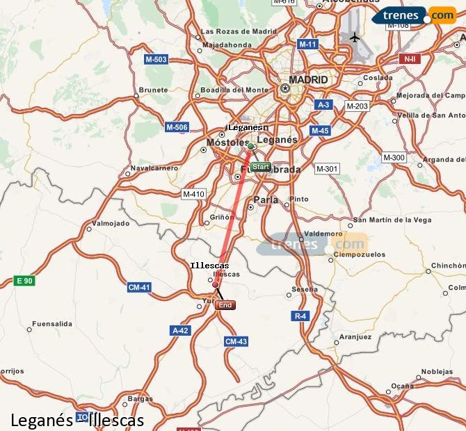 Ingrandisci la mappa Treni Leganés Illescas