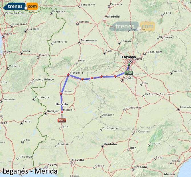 Karte vergrößern Züge Leganés Mérida