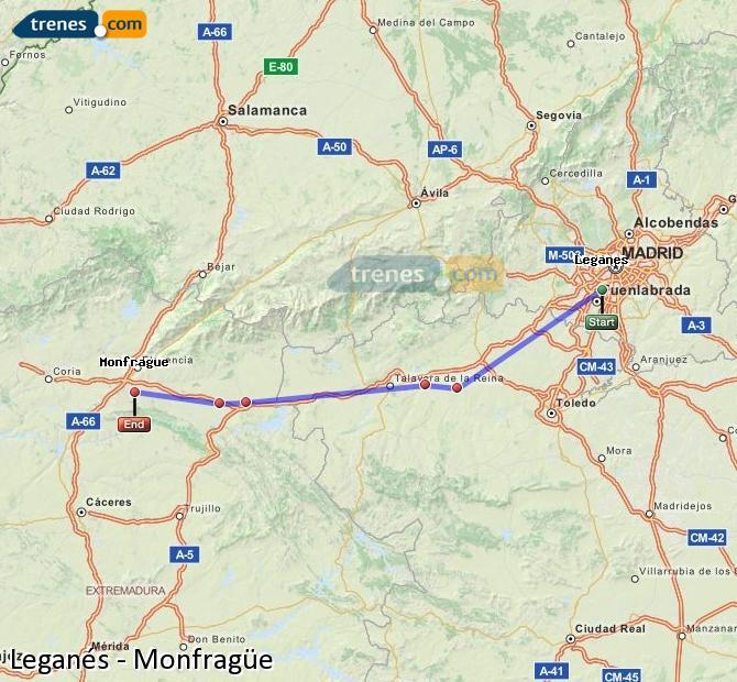 Agrandir la carte Trains Leganés Monfragüe