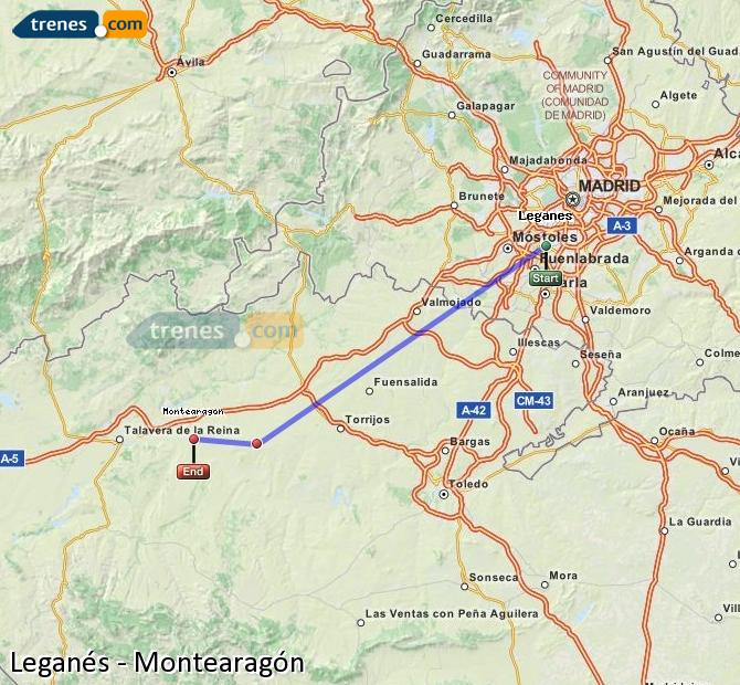 Karte vergrößern Züge Leganés Montearagón