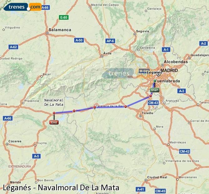 Ingrandisci la mappa Treni Leganés Navalmoral De La Mata