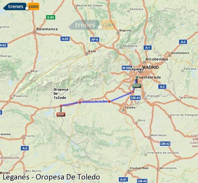 Enlarge map Trains Leganes to Oropesa De Toledo
