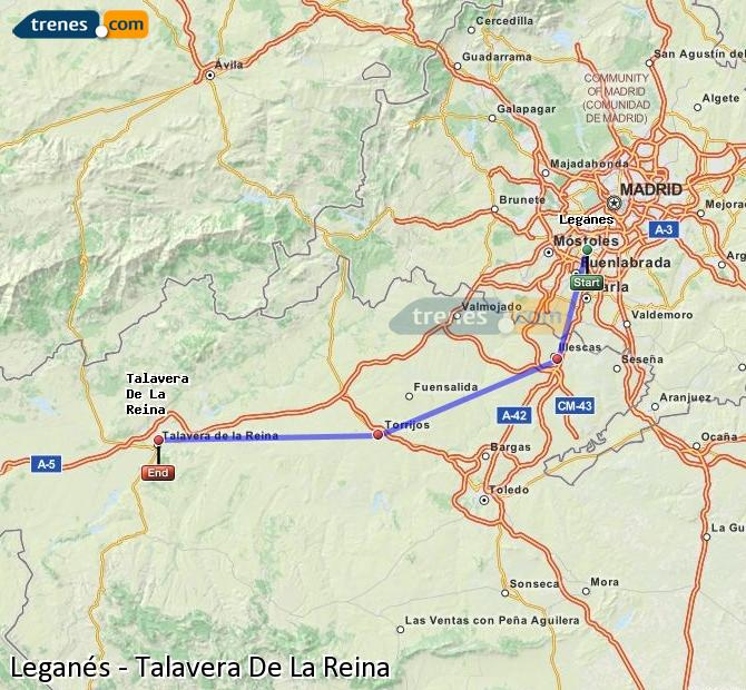 Enlarge map Trains Leganes to Talavera De La Reina