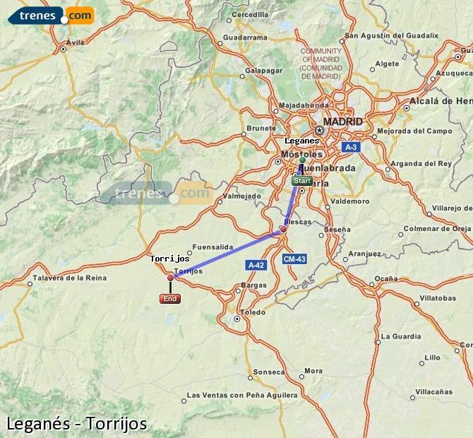Agrandir la carte Trains Leganés Torrijos