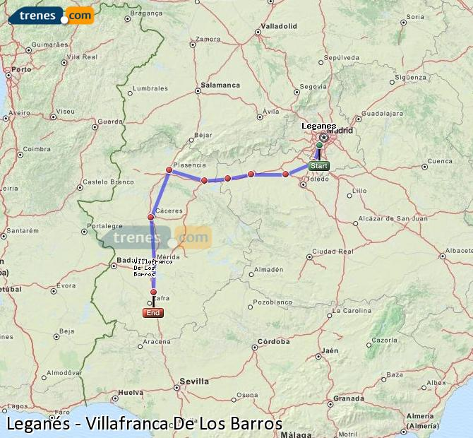 Enlarge map Trains Leganes to Villafranca De Los Barros
