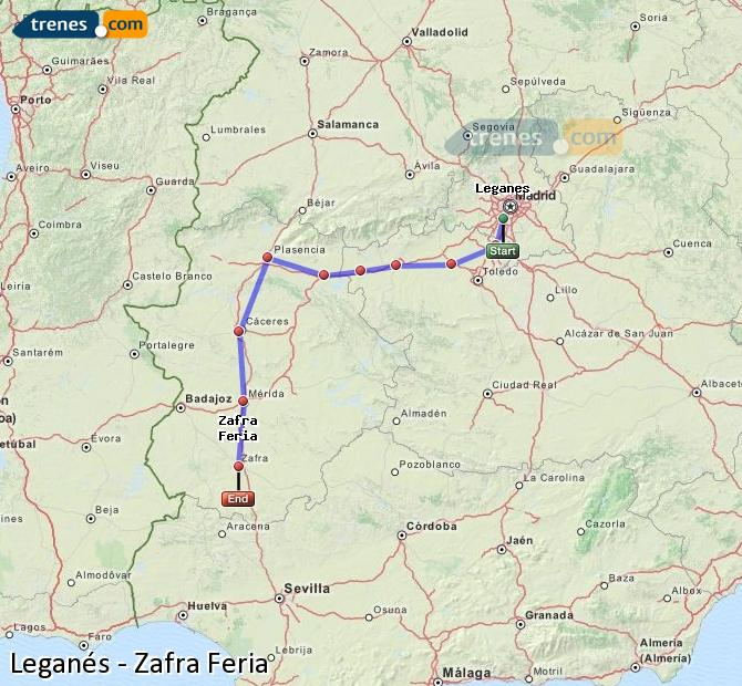 Enlarge map Trains Leganes to Zafra Feria
